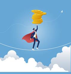 Businessman balancing money on rope vector