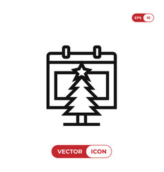 calendar and christmas tree icon vector image