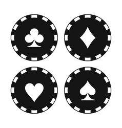 Card suit casino chips icons vector image