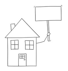 cartoon drawing of family house holding empty sign vector image