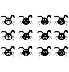 cartoon rabbit face icon vector image