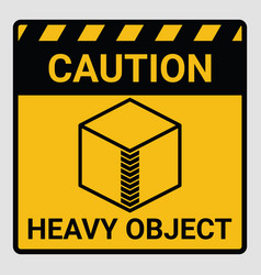 caution heavy object two persons lift required vector image