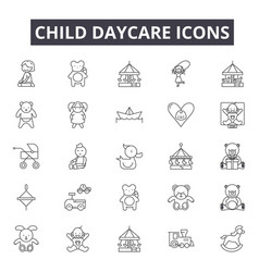 child daycare line icons for web and mobile design vector image