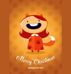 christmas card with girl in fox costume vector image
