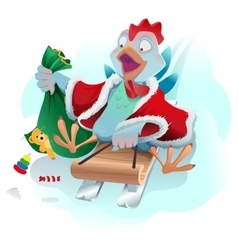Christmas cock rolls on sledge from mountain Blue vector image