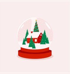 christmas in a globe or glass ball vector image