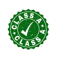 class a grunge stamp with tick vector image