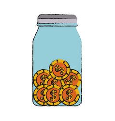 Coins in jar money icon image vector