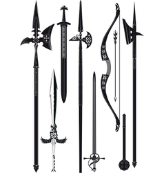 collection of medieval weapons vector image vector image