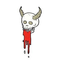 comic cartoon spooky halloween skull vector image