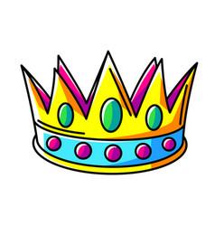 Crown colorful cute cartoon icon vector