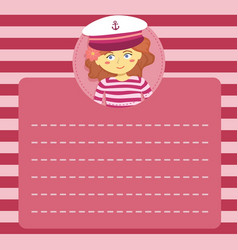 Cute captain sailor girl memo notes greeting card vector