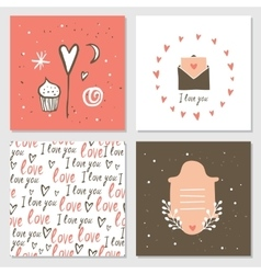 Cute cards with love lettering seamless background vector image