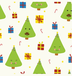cute christmas trees with faces on beige vector image