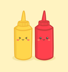 Cute mustard tomato ketchup bottle cartoon vector