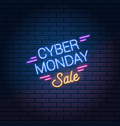cyber monday sale neon sign on dark brick wall vector image