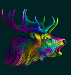 deer abstract neon multi-colored portrait vector image