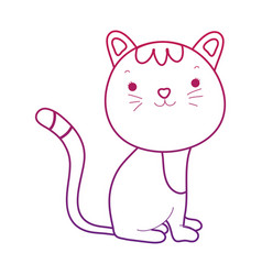 Degraded outline nice cat adorable pet animal vector