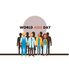Different human with aids ribbons vector