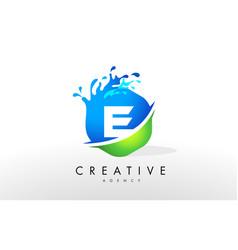 E letter logo blue green splash design vector