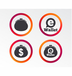 electronic wallet icons dollar cash bag sign vector image