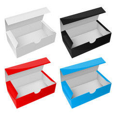 empty paper boxes open colored packaging vector image