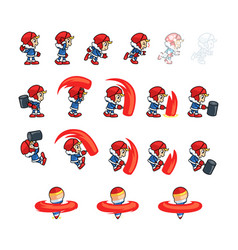 Eskimo boy attack game sprites vector