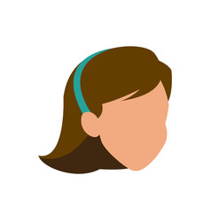 faceless woman head brunette diadem vector image