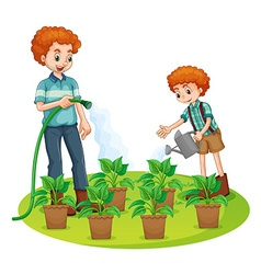 Father and son watering plants vector
