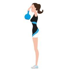 Fitness woman lifting kettlebell 07 vector