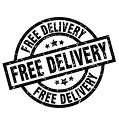 Free delivery round grunge black stamp vector