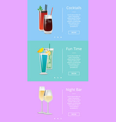 Fun time with cocktails at night bar poster vector