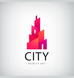 geometric city building logo modern style vector image