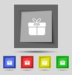 Gift box icon sign on original five colored vector image