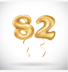golden number 82 eighty two metallic balloon vector image