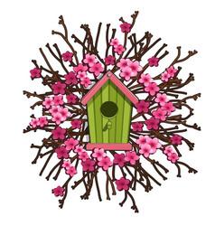 Green birdhouse framed sakura cherry blossoms vector