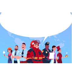 group of people of different occupations standing vector image