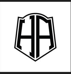 Ha logo monogram with shield shape outline design vector