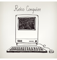 hand drawn doodle retro computer vector image