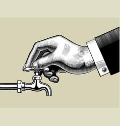 Hand opening water tap vector