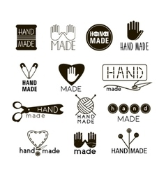 Handmade black and thin line icons vector image