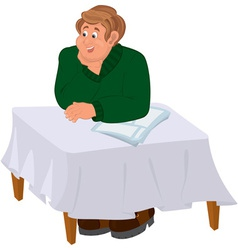 Happy cartoon man sitting at the table vector image