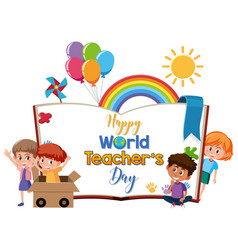 happy world teachers day logo with group cute vector image