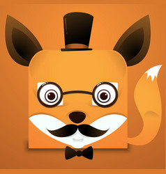 hipster face fox square style vector image