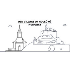 Hungary - holloko old village travel famous vector