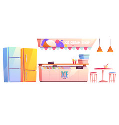 ice cream shop or cafe interior equipment set vector image