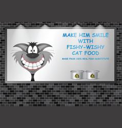 Illuminated advertising billboard cat food advert vector