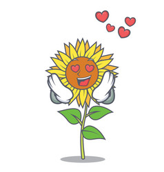 In love sunflower mascot cartoon style vector