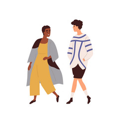 Interracial couple of man and woman walking vector