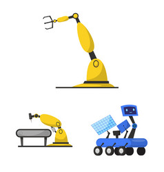 Isolated object robot and factory sign vector